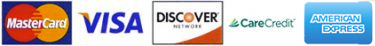 Credit card options include Mastercard, Visa, Discover, American Express, and CareCredit